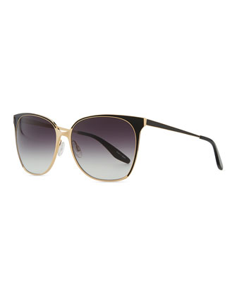 Edie Metal/Enamel Sunglasses, Gold/Black