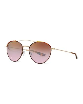 Gamine Round Aviator Sunglasses, Gold/Havana