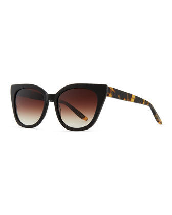 Shirelle Cat-Eye Sunglasses, Black/Tortoise
