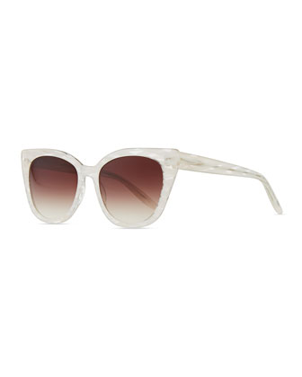 Shirelle Cat-Eye Sunglasses, Pearl