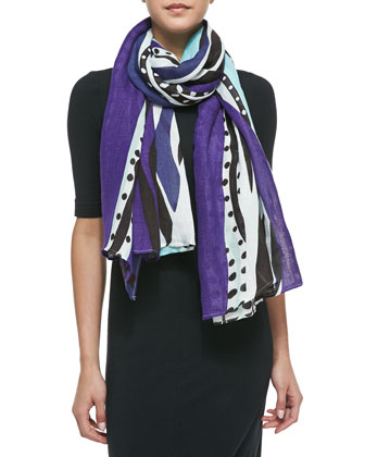 Glass Patch Scarf, Purple/Blue/White