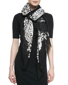 Grace Feather Leopard Scarf, Black/White