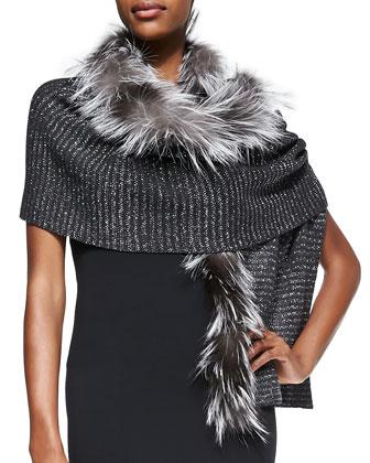 Knit Scarf with Fox Fur Trim, Gray