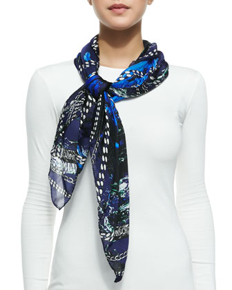 Light Printed Foulard Scarf, Blue