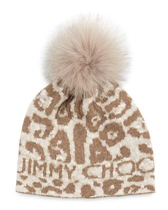 Woven Knit Cap w/ Fur Pom-Pom