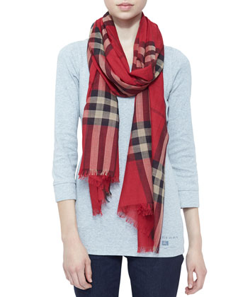 Giant Check Gauze Scarf, Vermillion Red