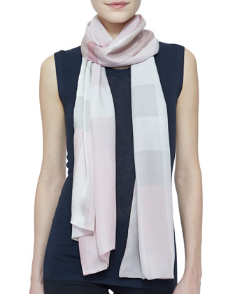 Core Oblong Mulberry Silk Scarf, Pale Rhubarb