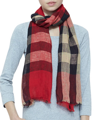 Giant Check Linen Scarf, Vermillion Red