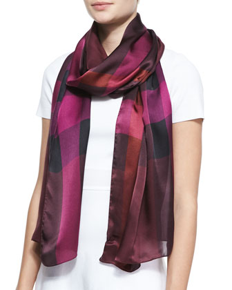 Mega-Check Satin Oblong Scarf, Deep Claret