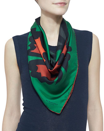 Large Floral-Print Silk Scarf, Bright Cedar Green