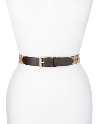 Check Leather/PVC Belt, Chocolate