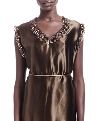 Sateen Fringe Bead-Trim Shift Dress & Leather-Back Tie Wire Belt