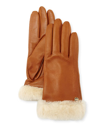 Classic Fur-Trim Leather Smart Gloves, Chestnut