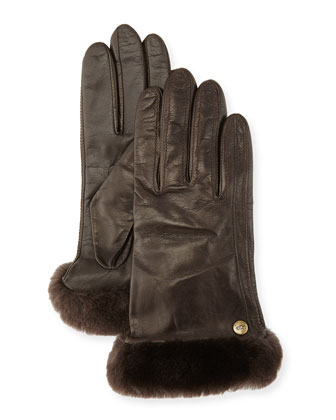 Classic Fur-Trim Leather Smart Gloves, Brown