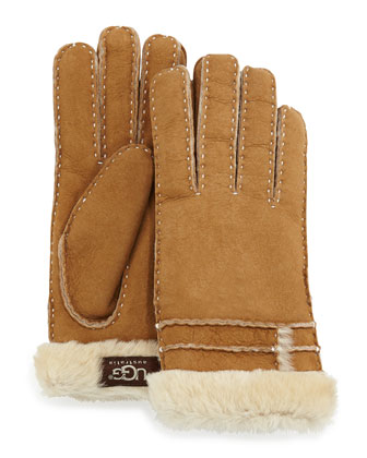 Bronte Gloves with Shearling, Chestnut