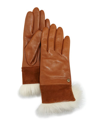 Quinn Leather Gloves with Toscana Trim, Chestnut