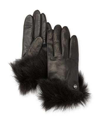 Quinn Leather Gloves with Toscana Fur Trim, Black