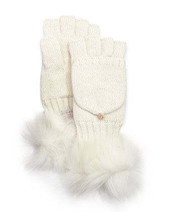 Nyla Flip-Top Metallic Mittens with Shearling