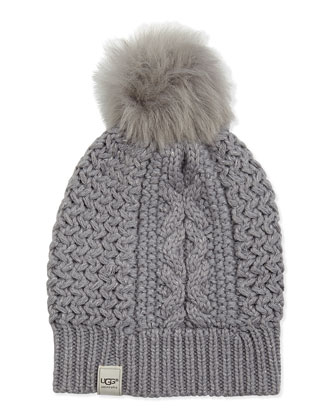 Nyla Cable Fur-Pompom Beanie, Gray