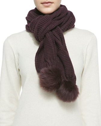 Nyla Cable Knit Scarf with Shearling Fur Pompom, Port