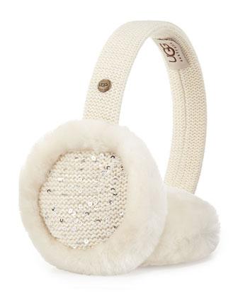 Lyra Sequined Headphone Earmuffs, Cream