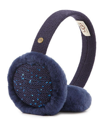 Lyra Sequined Headphone Earmuffs, Peacoat