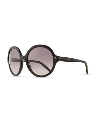 Boxwood Round Sunglasses, Black