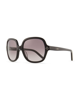 Boxwood Square Sunglasses, Black
