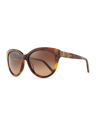 Suzanna Studded Cat-Eye Sunglasses, Tortoise