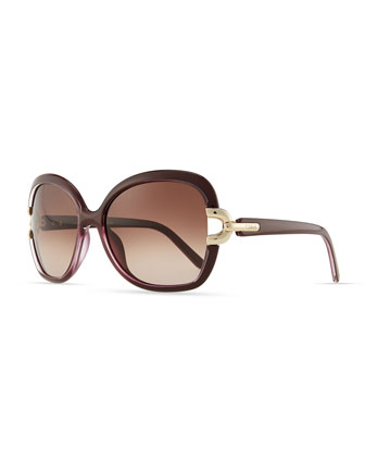 Brunelle Square Sunglasses, Plum