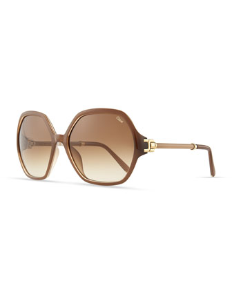 Marcie Oversized Sunglasses, Turtledove