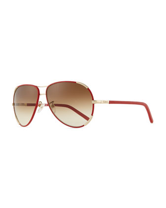 Nerine Aviator Sunglasses with Leather, Gold/Red