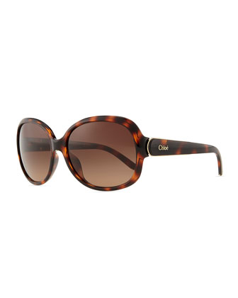 Calla Rounded Sunglasses, Tortoise