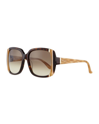 Striped Square Sunglasses, Tortoise
