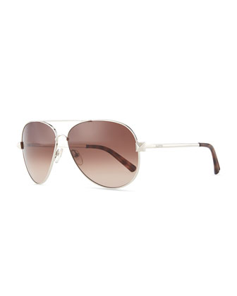 Metal Aviator Sunglasses with Rockstud Temples, Silvertone