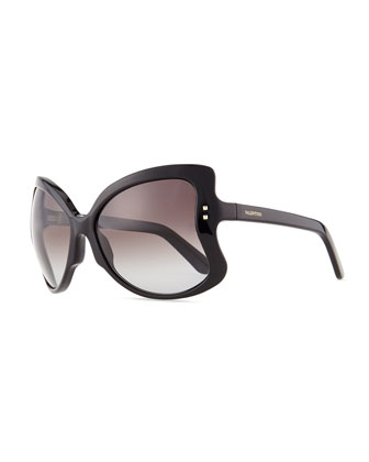 Oversized Butterfly Sunglasses, Black