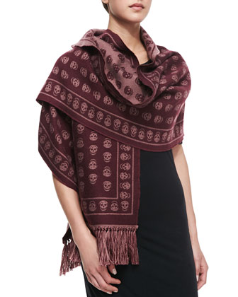 Upside-Down Skull Muffler Scarf, Lacquer/Bordeaux