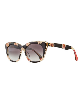 Floral Plastic Cat-Eye Sunglasses, Navy