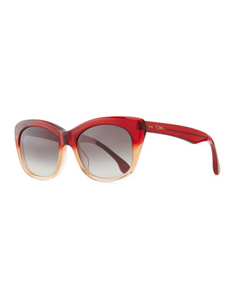 Ombre Plastic Cat-Eye Sunglasses, Red