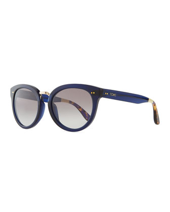 Rounded Plastic/Metal Sunglasses, Indigo