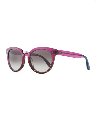 Rounded Plastic/Metal Sunglasses, Purple