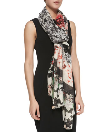 Floral/Lace Patchwork Scarf, Black/Coral