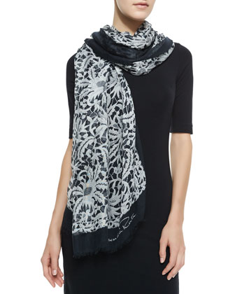 Lace Printed Scarf, Black/White
