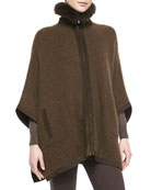 Dusseldorf Fox Fur-Trimmed Cashmere Poncho, Chocolate Brown