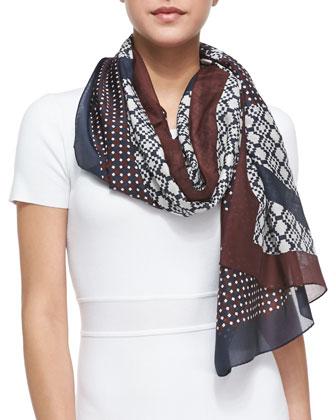 Reva Haber Print Silk Scarf, Brown/Taupe