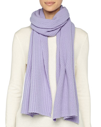 Textured Knit Scarf, Lilac