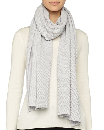Textured Knit Scarf, Gray
