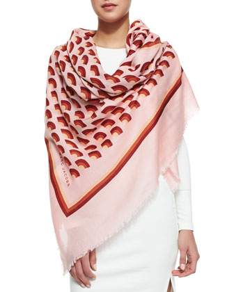 Geometric Fan-Print Scarf, Pink/Multi