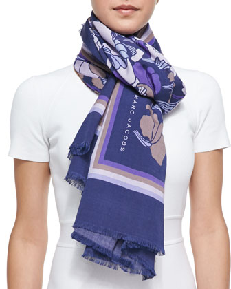 Forest Printed Scarf, Lilac/Multi