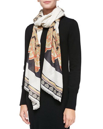 Fan-Print Shawl, Black/White